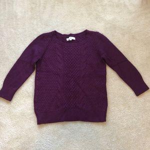 Wine cable knit Loft sweater, size M